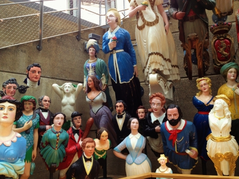 The Long John Silver Collection of figureheads, at the Cutty Sark museum.