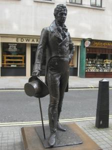 Statue of beau Brummell on Jermyn Street in Westminster